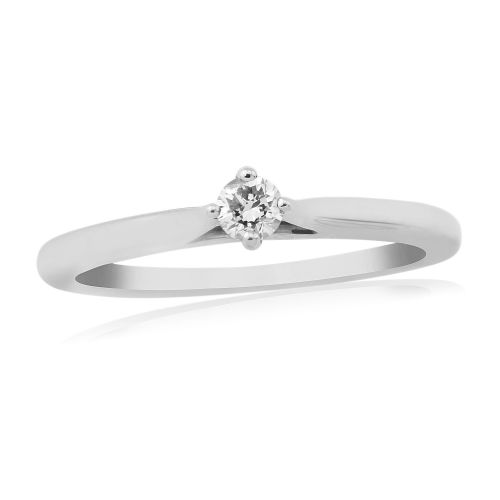 Solitaire Single Stone Four Claw Engagement Ring White Gold 10 Points